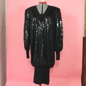 Size 14 Vintage Black Sequined Cocoon Dress